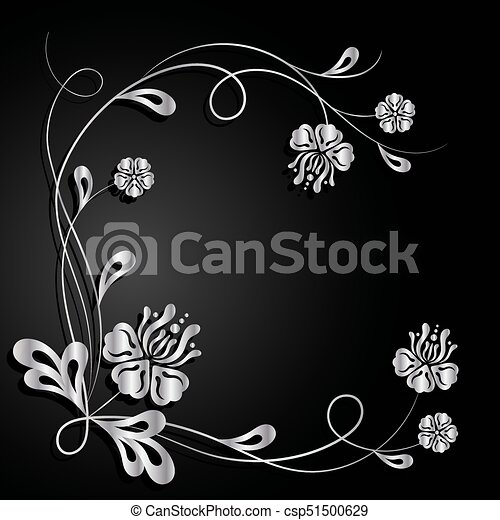 Silver flowers with shadow on dark background. - csp51500629