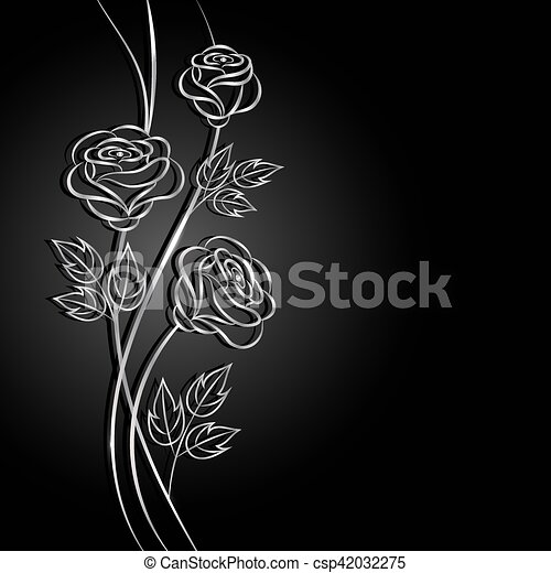 Silver flowers with shadow on dark background. - csp42032275