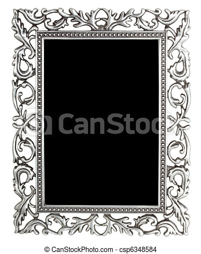 Antique silver frame isolated.