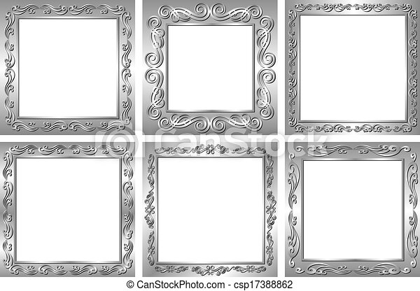 Set of silver frames with transparent space insert for picture.