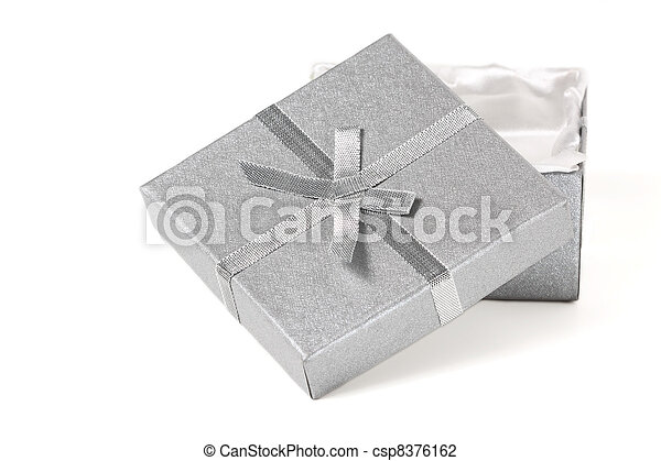 silver gift box and bow - csp8376162