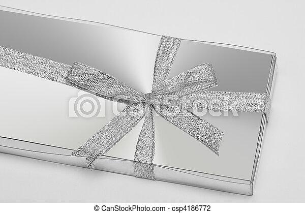 silver gift box with ribbon - csp4186772