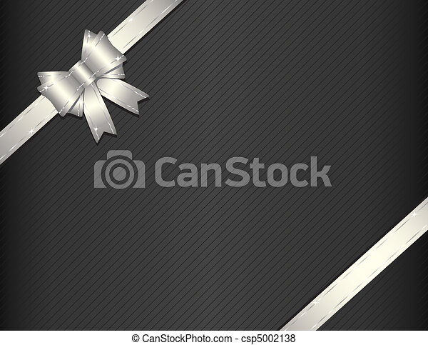Silver gift ribbon with gift paper - csp5002138