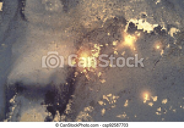Silver gray, blue and gold shining abstract marble background - csp92587703
