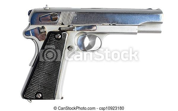 Silver gun isolated on white - csp10923180