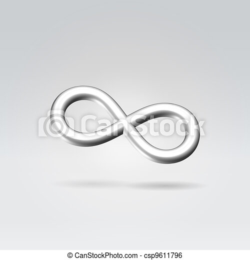 Glowing Silver Infinity Symbol 3d Closeup Backlit Hanging In
