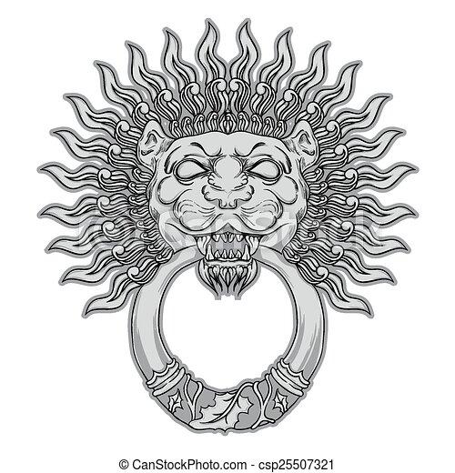 Silver lion head on black background. Door knocker. Hand drawn v - csp25507321