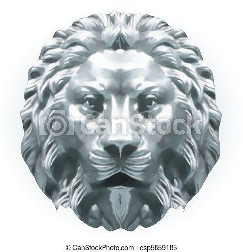 Silver lion. Vector - csp5859185