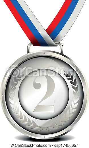silver medal with ribbon illustration of a ribboned silver rh canstockphoto com medal images clipart medal images clipart