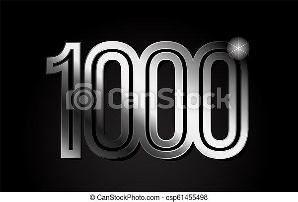 silver metal number 1000 logo icon design - csp61455498