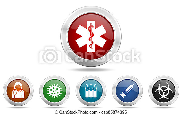 Silver metallic glossy icon set, medical and coronavirus concept buttons - csp85874395