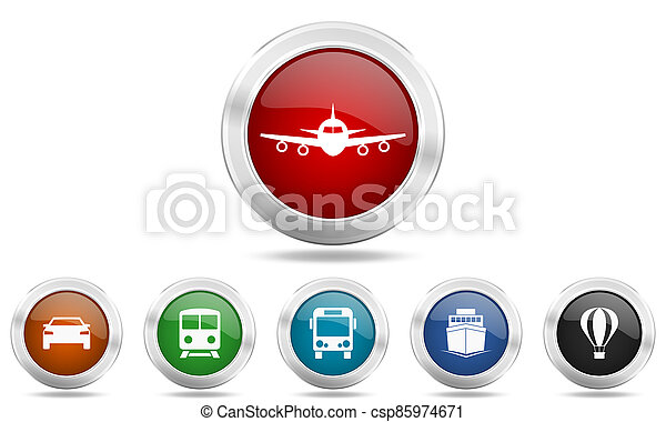 Silver metallic glossy icon set, travel and transportation concept buttons - csp85974671