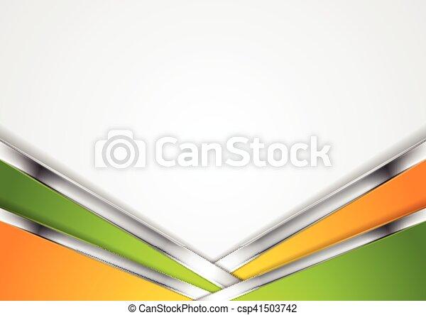 Silver Metallic Lines Orange Green Background
