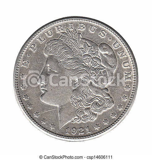 Silver Morgan dollar isolated on white - csp14606111