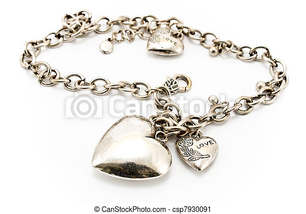 Silver necklace with heart pendants - csp7930091
