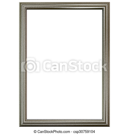 Silver old frame isolated on white. - csp30759104