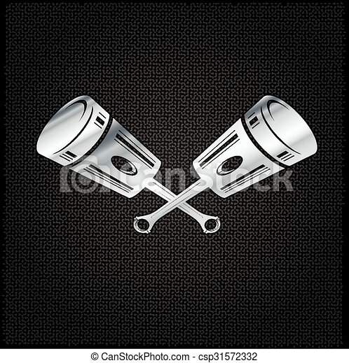 silver pistons on metal background - csp31572332