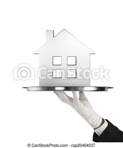 silver plate with metal house - csp20464037