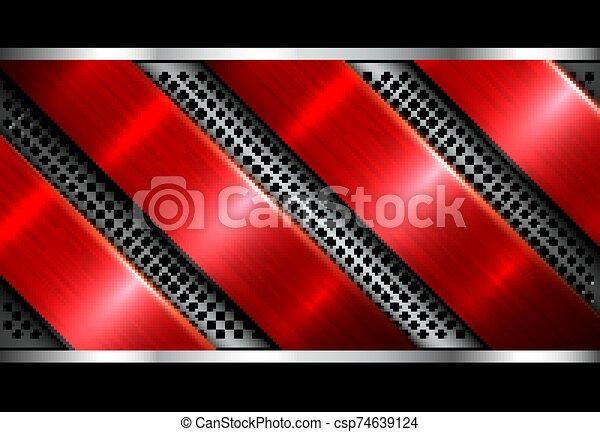 Silver red metallic background - csp74639124