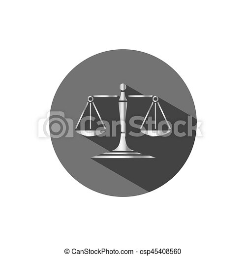 Silver scales of justice icon with shadow on a dark circle - csp45408560