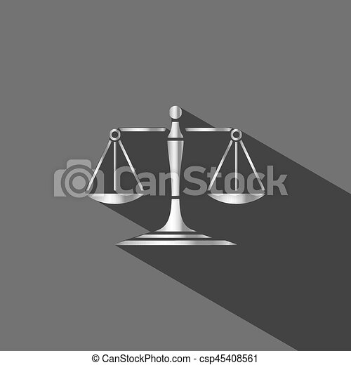 Silver scales of justice icon with shadow on dark background - csp45408561