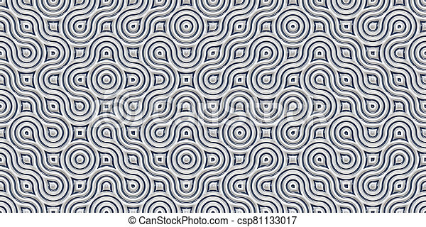 Silver Seamless Truchet Tilling Background. Geometric Mosaic Connections Texture. Tile Circles Labyrinth Backdrop. - csp81133017