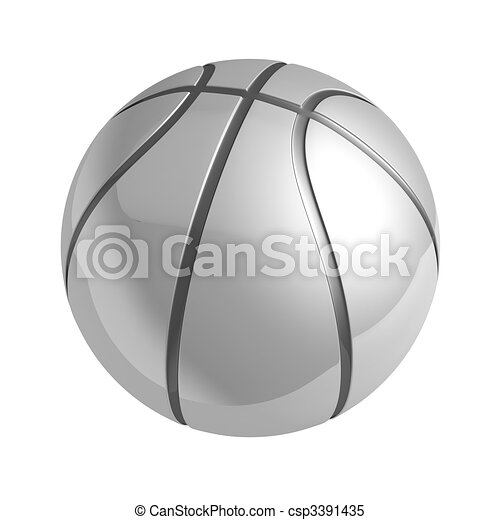 Silver shiny basketball with reflection - csp3391435
