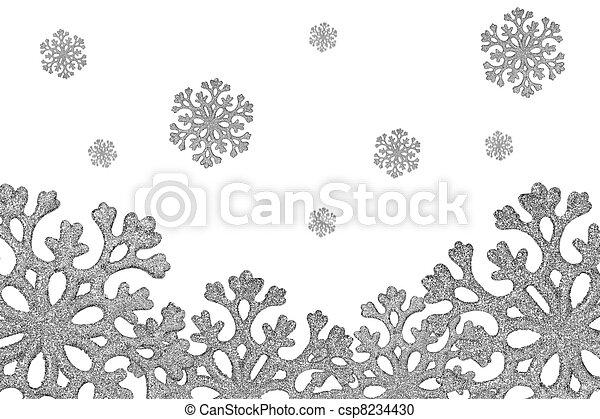 Silver shiny snowflakes fall - csp8234430