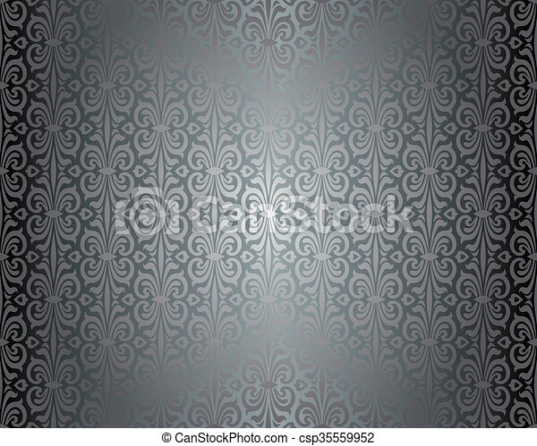 Silver shiny vintage wallpaper csp35559952