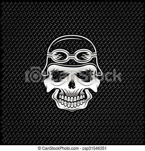 silver skull in helmet on metal background, biker theme - csp31546351