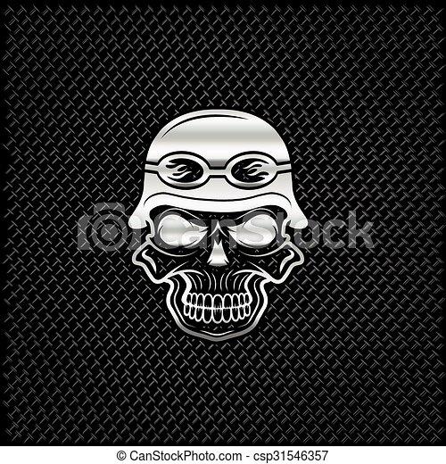silver skull in helmet on metal background, biker theme - csp31546357