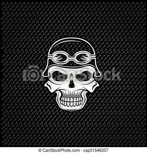 silver skull in helmet on metal background, biker theme - csp31546337