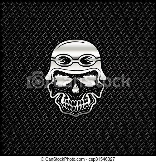 silver skull in helmet on metal background, biker theme - csp31546327
