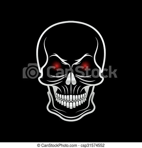 silver skull with red eyes on black background clipart Angry Cartoon Angry Face Clip Art