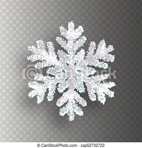 Silver snowflake with bright glitter on transparent background  Christmas  decoration
