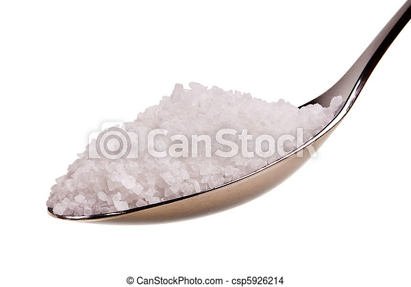 Silver spoon full of white crystal sugar isolated over white background. - csp5926214