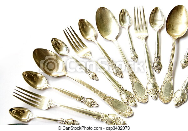 Silver Spoons, Tea Spoons and Forks - csp3432073
