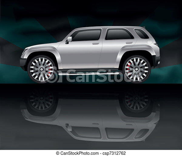 Silver sports utility vehicle - csp7312762