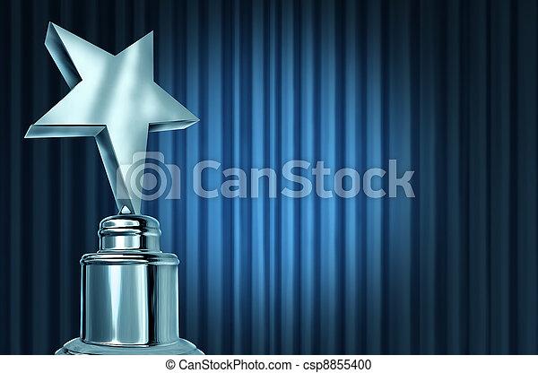 Silver Star Award On Blue Curtains - csp8855400