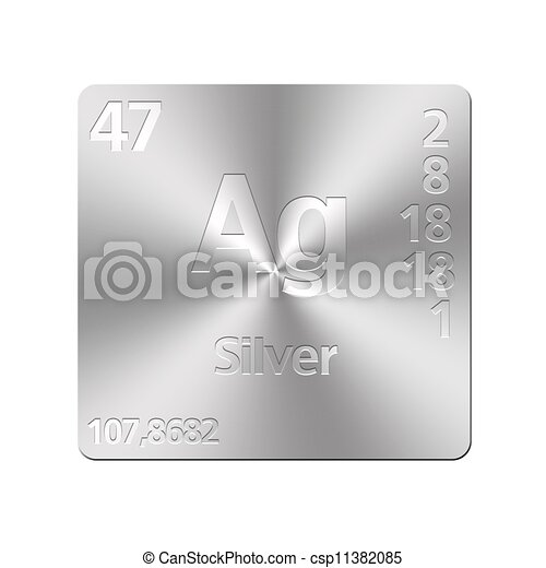 Isolated metal button with periodic table silver urtaz Images