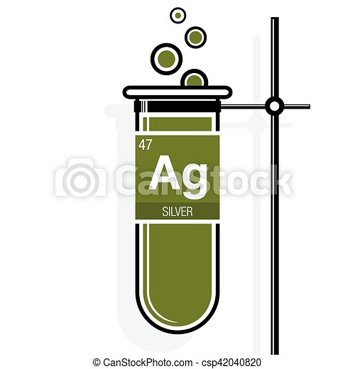 Silver symbol on label in a green test tube with holder vector silver symbol on label in a green test tube with holder element number 47 of urtaz Choice Image