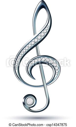 Silver treble clef with diamonds - csp14347875