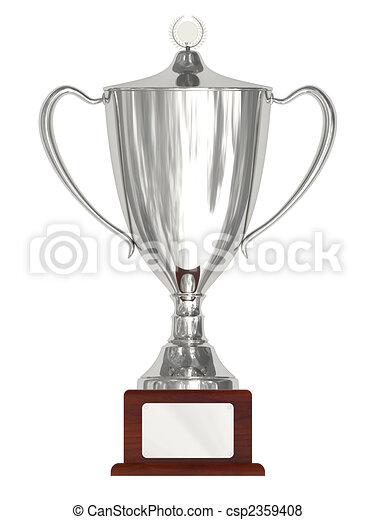 Silver trophy cup on wood pedestal - csp2359408
