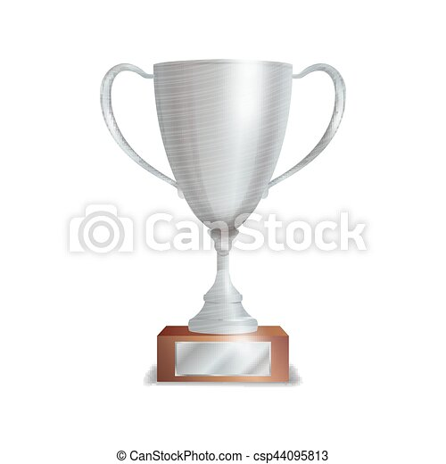 Silver Trophy Cup Winner Concept Award Design Isolated On White Background Vector Illustration