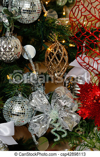 Silver White And Red Christmas Tree Decorations Silver White