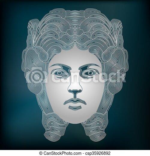 Silver woman portrait, zodiac Virgo sign - csp35926892