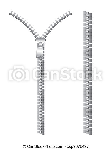 Silver zip isolated over white background. vector ...
