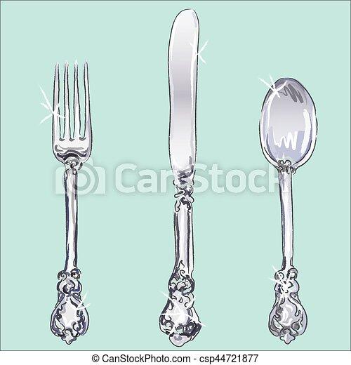 Silverware - fork, spoon, knife - csp44721877
