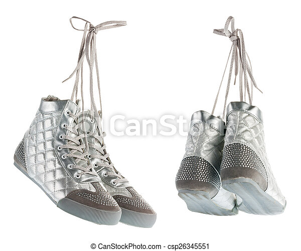 Silvery flying gym shoes with rhinestones