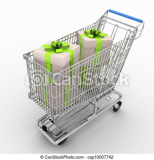 silvery store cart full of gifts - csp10007742